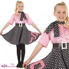 Girls Rock N Roll Costume Child 50s 1950s Poodle Polka Skirt Fancy Dress Outfit