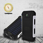 AU Waterproof 50000mAh Solar Power Bank 2USB LED Battery Charger For iPhone X