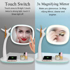 LED Touch Screen Makeup Mirror Tabletop Lighted Cosmetic Vanity 360°Rotation lj