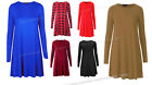 Ladies Swing Flared Skater Long Sleeve Standard & Plus Size Dresses Size 4 To 22