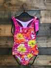 NWT Speedo Girls Pink Fracture Floral 1 Piece Swimsuit