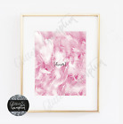 Fashion SCANDI Art beautiful pink feathers Dream Inspirational Typography quote