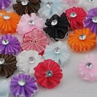 20/40pc Organza Ribbon Flowers With Arcylic Stone Wedding Appliques Crafts A0145