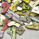10/50/100pcs Mix Shoes 2 Holes Wood Buttons Sewing 19*27 mm Mix Lots W324