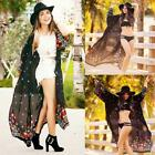 New Fashion Women Casual Front Open Long Sleeve Loose Prints Chiffon EFFU