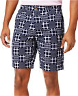 NEW MENS CLUB ROOM FLAT FRONT 9' PATCHWORK NAVY BLUE COTTON SHORTS 42