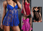 NEW Women's Nightgown + G String Sheer Lace Lingerie Babydoll Teddy Sexy HOT!!!