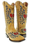 Womens Sand Heart Wings Distressed Overlay Rodeo Leather Cowboy Boots Square