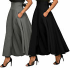 US STOCK ! Women  High Waist Skater Flared Pleated Swing Long Skirt Dress #150