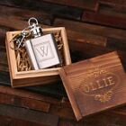 Personalised Engraved Key Chain 1 oz. Stainless Steel Flask w/ Optional Gift Box