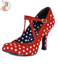 RUBY SHOO JESSICA limo POLKA DOT red white spots HEELS como SHOES