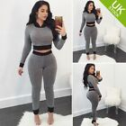 Women Long Sleeve 2 PCS Crop Top and Pants Sport Fitness Bodycon Jumpsuit Romper