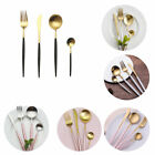 4pcs Gold Plated Cutlery Flatware Set Stainless Steel Dinnerware Fork Knife Gift