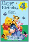 Winnie the Pooh Birthday Card - Fully Customisable with name & age - Unofficial
