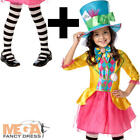 Mad Hatter + Tights Girls Fancy Dress World Book Day Childrens Disney Costume