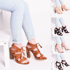 Ladies Womens Lace Up Block High Heel Zip Peep Toe Party Sandal Shoes Size 3-8