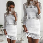 Womens Sexy Lace Strappy Plunge Bodycon Pencil Party Evening Cocktail Midi Dress