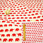 WHITE RED Fat Quarter/Meter/FQ Cotton Sewing Craft Fabric Petite Elephant Animal
