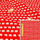 RED WHITE Fat Quarter/Meter/FQ Cotton Sewing Craft Fabric Petite Elephant Animal