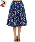HELL BUNNY OCEANA nautical POLKA DOT anchor 50s style CIRCULAR SKIRT XS-4XL
