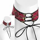 New Womens Gold Color Red Tone String Tie Up Choker Necklace