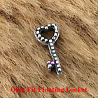 925 Sterling Silver Heart Key Petite Charm Fit Floating LOCKET Necklace