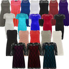 DIVADAMES WOMENS PLUS SIZE SLEEVELESS SHORT SLEEVES LACE MESH OVERLAY DRESS