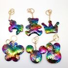Unicorn/Bunny Sparkly Crystal Reversible Sequin Chain Keyring Pendant UK SELLER