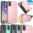 Credit Card Holder Case For iPhone X 8 Plus 7 6S 6 w/ Slide Card Slot Back Cover