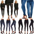 Womens Ladies High Waisted Blue Skinny Jeans Stretch Denim Jeggings Size 6 - 26