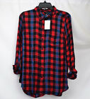 Lucky Brand Plaid Utility Women Shirt - Red/Blue