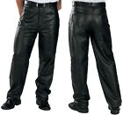 Xelement #860 Men's Loose Fit Fully Lined 5-pocket Soft Cowhide Leather Pants
