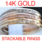 14K Yellow White or Rose Gold Round Channel Eternity Endless Wedding Ring Band