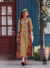 New Women Pretty Formal Casual Party Dress Long Floral Ethnic Kurti Cotton Top