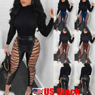 US Lady Lace UP Hollow Out PU Sexy Pants High Waist Skinny Bandage Club Trousers