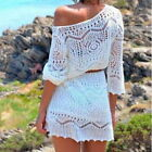 Women Beach Swimwear Cover  Bathing Lace Hollow Out Knit Dress White GIFT
