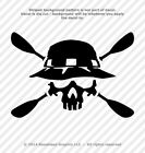 Kayak Skull with Paddles Vinyl Decal Canoe Oars Window Sticker - 25 Colors