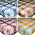 Linen Checkered Squares PVC Tablecloth Vinyl Oilcloth Kitchen Dining Table