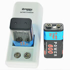 rechargeable 9v batteries with charger - 600mAh 9V 6F22 Rechargeable Ni-MH Batteries with 2 Slots 9-Volt Battery Charger