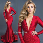 Mermaid Evening Dresses V Neck Formal Sexy Gold Cocktail Prom Gowns Custom Size