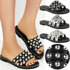 Womens Ladies Studded Slider Flat Summer Sandals Cage Slides Slip On Bling Size