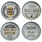 Assorted Galvanized Beer Bottle Cap Wall Decor, Choice of 4 Different Designs