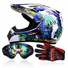 Safety ABS DOT Motorcycle Off Road Helmets +Goggles+Gloves Motocross Racing BCL