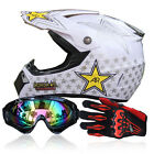 Protect Unisex Adult Motocross Motorcycle Off Road Helmet+Goggles+Gloves DOT BCL