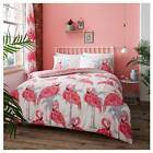 FLAMINGO PINK PRINTED QUILT DUVET COVER SET BEDDING SINGLE DOUBLE KING SIZES