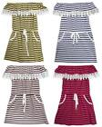 Girls Lace Macrame Frill Trim Nautical Stripe Summer Gypsy Dress 2 to 14 Years