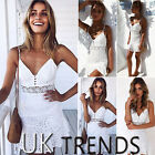 UK Womens Crochet Lace Frill Ruffle V Neck Strappy Ladies Mini Dress Size 6-14