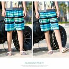 Fashion Men Stripe Beach Shorts with Pockets Drawstring Swim Trunks Swimwear KZ