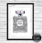 Fashion Art Iconic Perfume Bottle Watercolour silver line art beauty room print