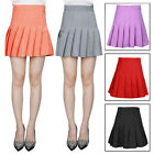 Women Tennis Plain Pleated Skirt Side Zip Slim High Waisted Stretch Skirt S-XXL